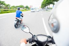 Free View From Behind The Motorcycle Driver`s Back Royalty Free Stock Image - 141802976