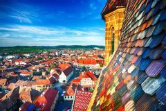 Free View From Bell Tower Of St Mary Cathedral On The Old Town In Sibiu City Stock Photo - 148503210