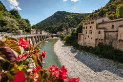 View From Bridge On The Mountain River `the Dreams` In The Frenc Stock Photography