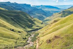 Free View From Sani Pass Back Towards South African Border Post Stock Photo - 117256020