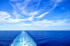 View From Stern Of Big Cruise Ship Stock Images