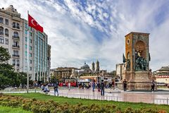 Free View From Taksim Square, Istanbul`s Most Famous Tourist Square With Ataturk And Taksim Monum Royalty Free Stock Image - 160445496