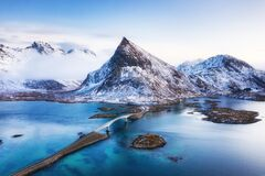 Free View From The Air On The Bridge And Mountains During Sunset. Lofoten Islands, Norway. Landscape From The Drone Stock Image - 175316101