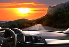 View From The Car. Sunset Over The Country Highway Stock Image