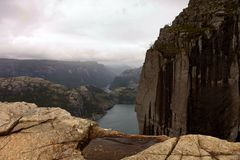 Free View From The Cliff Preikestolen In Fjord Lysefjord - Norway - Nature And Travel Background. Vacation Concept. Granite Stock Photos - 158918833