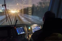 Free View From The Driver`s Cab Of An Electric Train, A Night Voyage On A Railway. Stock Photos - 111870323