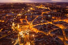 Free View From The Height Of The Old Town Square In The Evening Of The City Of Prague,Czech Republic. Royalty Free Stock Photo - 171592175