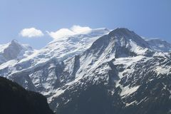 View From The N205 Upon French Mont Blanc Massif Royalty Free Stock Photo