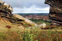 View fromDevils` Wall Teufelsmauer to Weddersleben. Panoramic View from Devils` Wall in Harz Mountains to Weddersleben Stock Photo