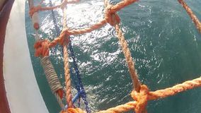 View from front big sailing vessel - tall ship stock video footage