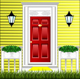 View of the front door, a cute flower pot Stock Photography