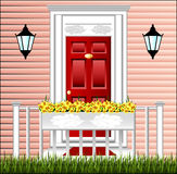 View of the front door, a cute flower pot Royalty Free Stock Photos