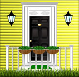 View of the front door, a cute flower pot Stock Image