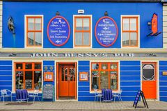 John Benny`s Pub - Closeup. A view of the front of the famous John Benny`s Pub in Dingle, Ireland Royalty Free Stock Photo