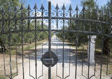 View through the front gate of the white gravel road leading to Tomaresca Tenuta Bocca di Lupo. Pictured through the front gate is the white gravel road leading Royalty Free Stock Photos