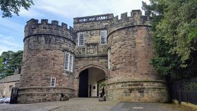An ancient castle in skipton england. View of the front of the old castle in skipton, england Royalty Free Stock Photos