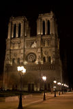 Notre Dame at Night Stock Photography