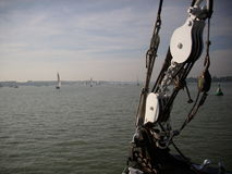 View from the front of a sailing ship Stock Photos