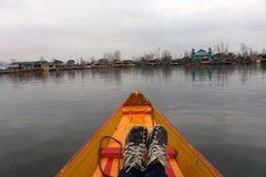 View from front of Shikara on Dal Lake, Srinagar Royalty Free Stock Photo