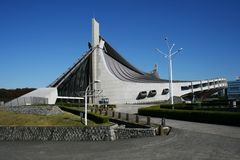 View of front of Tokyo Olympic Gymnasium 1 Stock Image