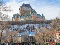 View of Frontenac Castle in winter under the snow Royalty Free Stock Images