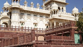 View on fronts of Jaswant Thada temple from outdoor garden. stock video footage