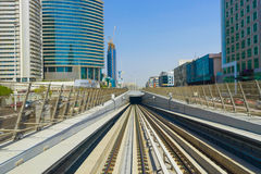 View frorm the Dubai metro car Stock Image