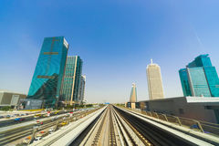 View frorm the Dubai metro car Royalty Free Stock Photography