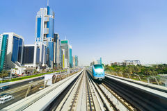 View frorm the Dubai metro car Royalty Free Stock Images