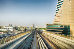 View frorm the Dubai metro car Stock Photography