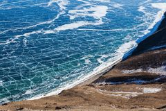 View of frozen Baikal lake from above,Russia. stock images
