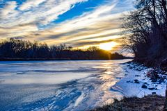 Frozen Des Moines River. This view of the frozen Des Moines River in Ottumwa, Iowa was taken from Rock Bluff Park royalty free stock photo