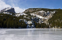 View of frozen lake. In Rocky mountains Royalty Free Stock Photos