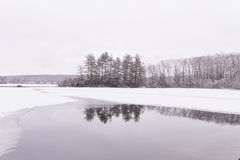 View of the frozen lake. Royalty Free Stock Images