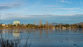 View of Frozen Mill Lake in Abbotsford BC Royalty Free Stock Image