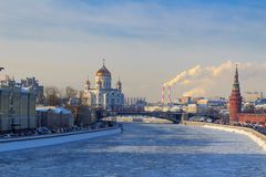 View of frozen Moskva river near the Moscow Kremlin in sunny winter day Stock Photography