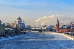 View of frozen Moskva river near the Moscow Kremlin in sunny winter day Royalty Free Stock Images
