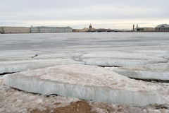 View of Frozen Neva River in center of St.Petersburg. Royalty Free Stock Photography