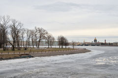 View of Frozen Neva River in center of St.Petersburg. Stock Images