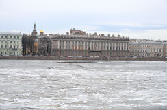View of Frozen Neva River in center of St.Petersburg. Royalty Free Stock Image