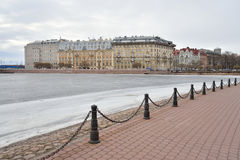 View of Frozen Neva River and Petrograd side. Royalty Free Stock Photos