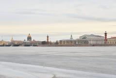 View of Frozen Neva River and Spit Vasilyevsky Island. Stock Photography