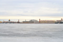 View of Frozen Neva River and Spit Vasilyevsky Island. Stock Photos