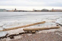 View of Frozen Neva River in St.Petersburg. Royalty Free Stock Photo