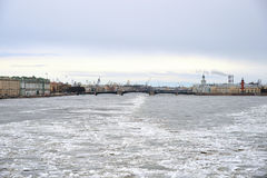 View of Frozen Neva River in St.Petersburg. Stock Images