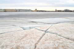 View of Frozen Neva River in St.Petersburg. Royalty Free Stock Images