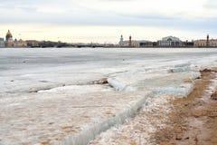 View of Frozen Neva River in St.Petersburg. Stock Photography