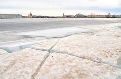 View of Frozen Neva River in St.Petersburg. Stock Image