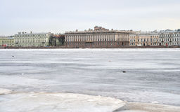 View of Frozen Neva River in St.Petersburg. Stock Photo