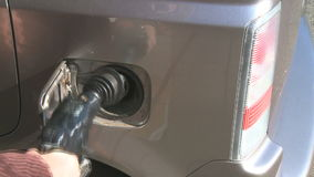View of fueling a car with gas. View of fueling a car stock footage